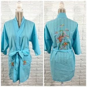 Vintage Daffodil Hand Embroidered Asian Bird Robe